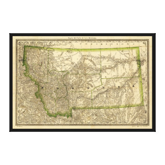 Indexed County Map of Montana (1881) Canvas Print
