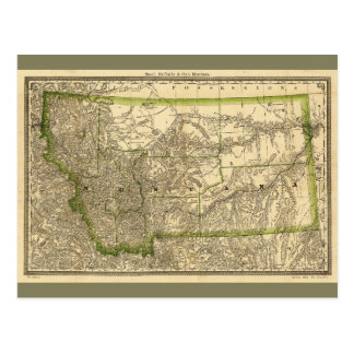 Indexed County Map of Montana (1881) Postcard
