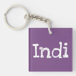 Indi Double-Sided Square Keychain with Lily Flower