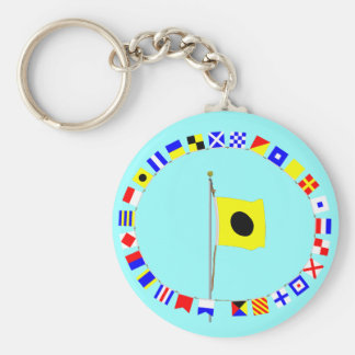 """India altering my course to port.  Signal Flag """"I"""" Basic Round Button Keychain"""