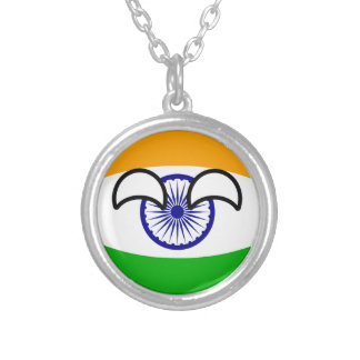 India Countryball Silver Plated Necklace