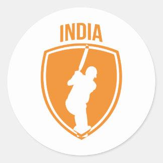 India Cricket Crest Classic Round Sticker