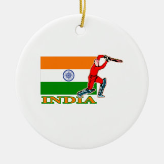 India Cricket Player Ceramic Ornament