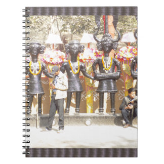 India cultural show statue of musicians artists notebook