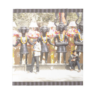 India cultural show statue of musicians artists notepad