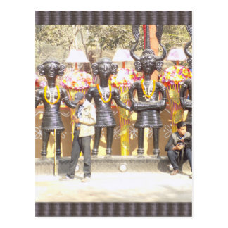 India cultural show statue of musicians artists postcard
