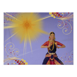 India Dancer with Sun (paint effect) Poster