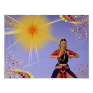 India Dancer with Sun (pastels) Poster