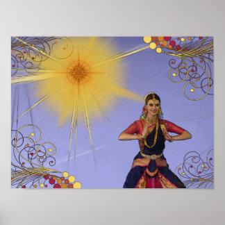 India Dancer with Sun (pop art) Poster