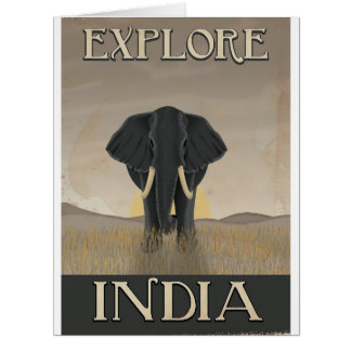 India elephant vintage travel poster card