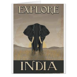 India elephant vintage travel poster card