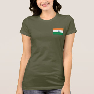 India Flag and Map dk T-Shirt