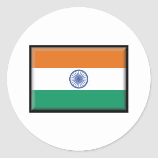 India Flag Classic Round Sticker