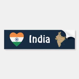 India Flag Heart + Map Bumper Sticker
