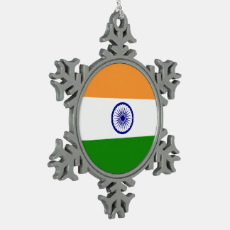 India Flag Pewter Snowflake Ornament