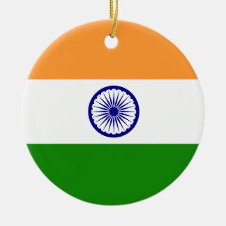 India Flag Round Ceramic Ornament