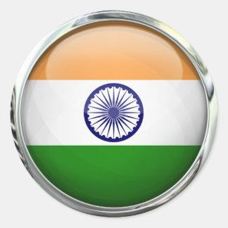 India Flag Round Glass Ball Round Sticker