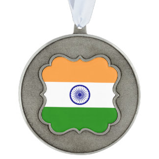 India Flag Scalloped Pewter Ornament