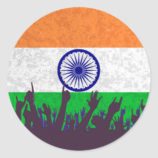 India Flag with Audience Classic Round Sticker