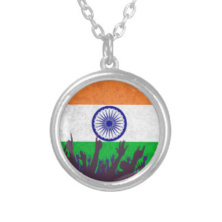 India Flag with Audience Silver Plated Necklace