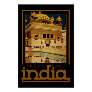 India Golden Temple vintage style travel poster