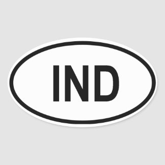 """India """"IND"""" Oval Sticker"""
