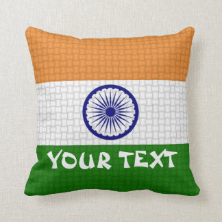 India Indian Flag: ADD TEXT Throw Pillow