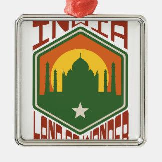 India Land Of Wonder Silver-Colored Square Ornament