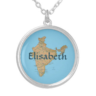 India Map + Name Necklace