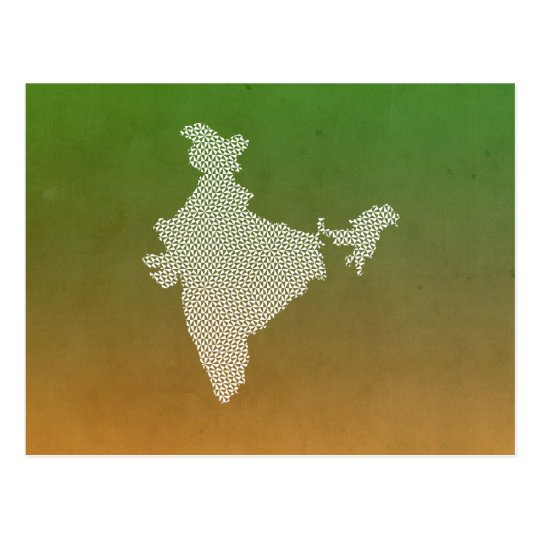 India Map with abstract geometric triangles Postcard