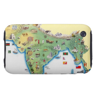India, map with illustrations showing iPhone 3 tough cover