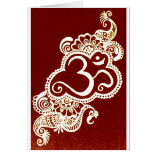 India mehndi red henna greeting card