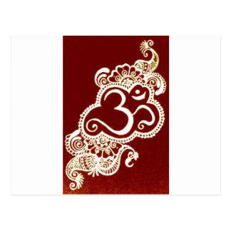 India mehndi red henna postcards