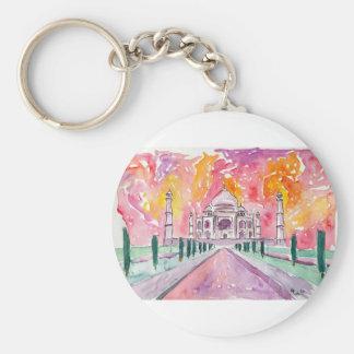 India palace at sunset basic round button keychain