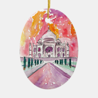 India palace at sunset ceramic ornament