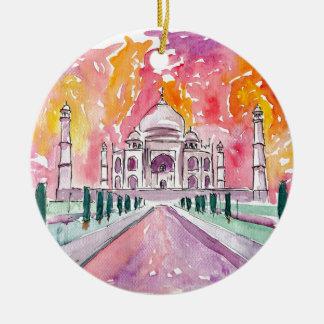 India palace at sunset round ceramic ornament