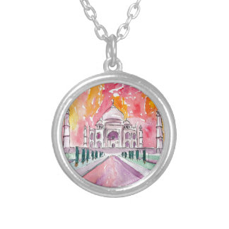 India palace at sunset silver plated necklace