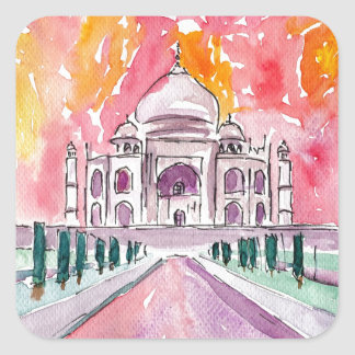 India palace at sunset square sticker