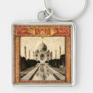 India, Taj Mahal Silver-Colored Square Keychain