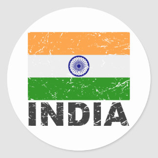 India Vintage Flag Stickers