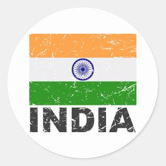 India Vintage Flag Stickers