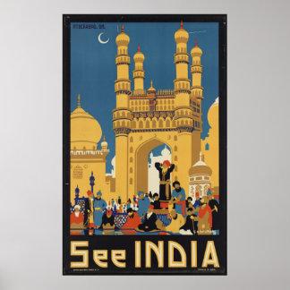 India Vintage Travel Poster Ad Retro Prints
