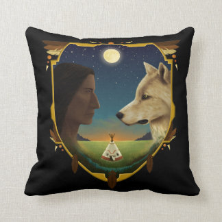 Indian and wolf Penheka Throw Pillow