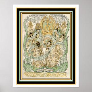 Indian Art Nouveau Print 16 x 20