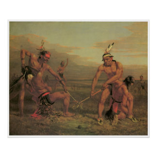 Indian Ball Game, 1843, American West Painting Print