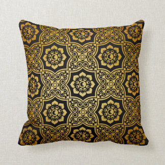 Indian Batik - gold Throw Pillow