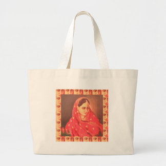 Indian beauty bride girl female woman goddess gift large tote bag