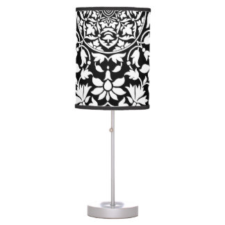 Indian Black and White Floral Geometric Pattern Table Lamp