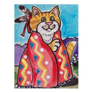 Indian Blanket Cat - Southwestern Postcard - cute!