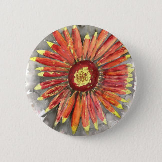 indian blanket wildflower watercolor painting 2 inch round button